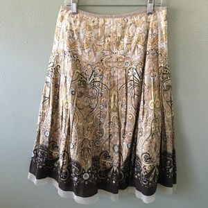 talbots pleated paisley cotton skirt